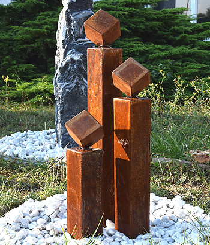 Cortenstahl Gartenbrunnen Norwich 3er SET 120S15 - Bild 03